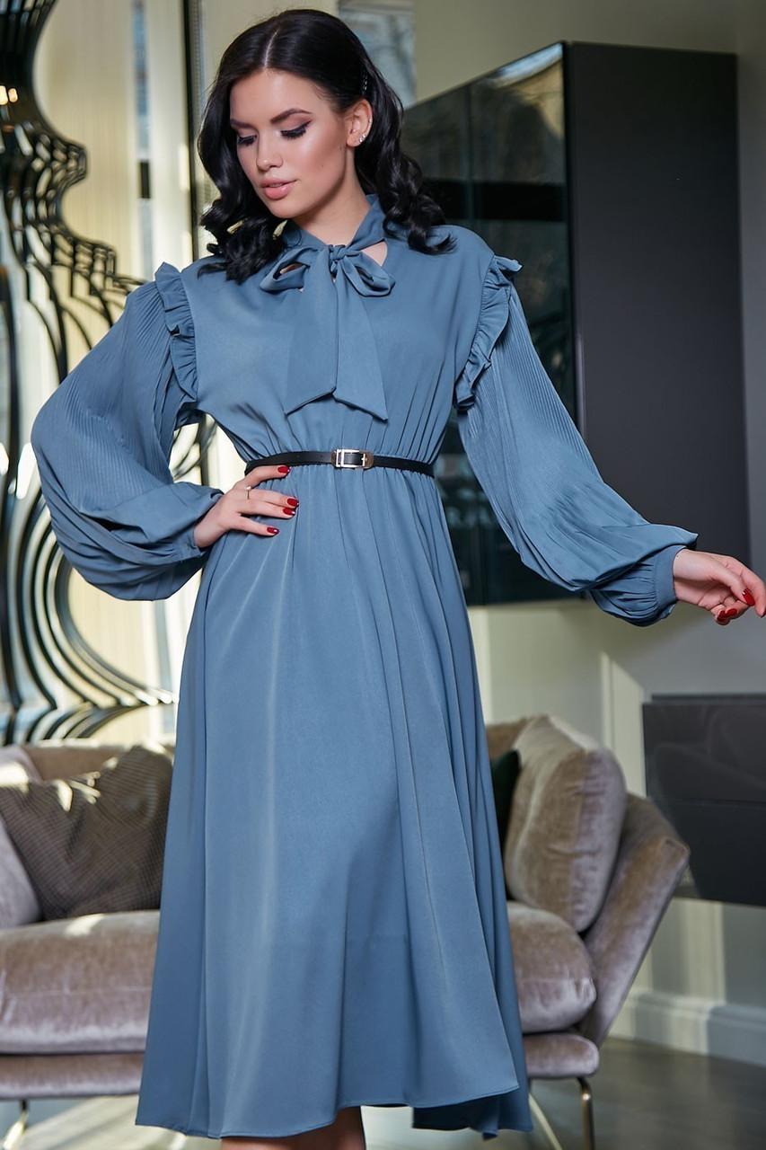 """Летнее платье """"Сексуальная монашка""""закрытое по колено с длинными рукавами, бантом и оборками.Голубое"""