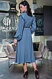 """Летнее платье """"Сексуальная монашка""""закрытое по колено с длинными рукавами, бантом и оборками.Голубое, фото 2"""
