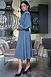 """Летнее платье """"Сексуальная монашка""""закрытое по колено с длинными рукавами, бантом и оборками.Голубое, фото 3"""