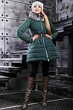 Женская зимняя теплая куртка с искусственным мехом. Куртка-платье, с юбочкой. Изумрудная