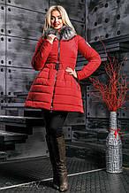 Женская зимняя теплая куртка с искусственным мехом. Куртка-платье, с юбочкой. Красная