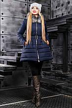 Женская зимняя теплая куртка с искусственным мехом. Куртка-платье, с юбочкой. Синяя