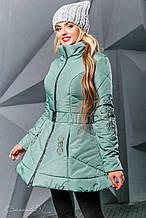 Женская зимняя теплая куртка с узором-вышивкой. Куртка-платье, с юбочкой. Мятная (оливковая)