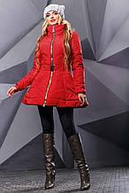 Женская зимняя теплая куртка. Куртка-платье, с юбочкой. Красная