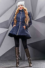 Женская зимняя теплая куртка. Куртка-платье, с юбочкой. По фигуре. Синяя