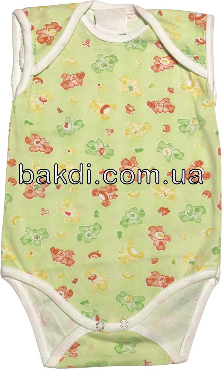Дитяче літнє тонке боді ріст 62 2-3 міс бавовняне кулір салатова на хлопчика дівчинку футболка без