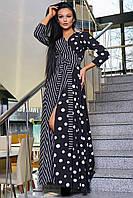 Летнее длинное черное платье макси в горошек, платье в полоску на запах с длинным рукавом, в пол
