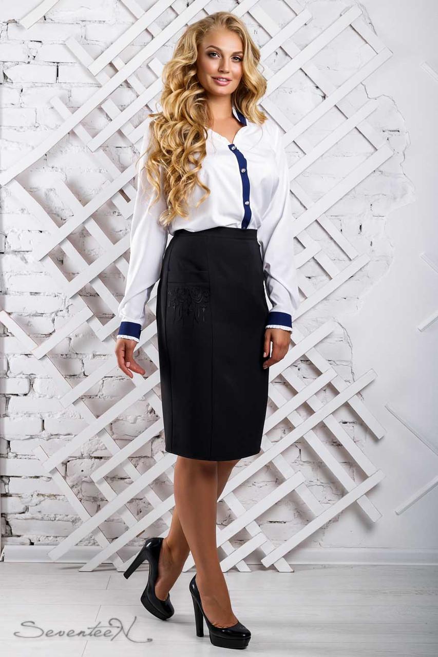 Женская блузка(блуза) свободная, с длинными рукавами, манжетами и воротником. Белая