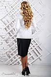 Женская блузка(блуза) свободная, с длинными рукавами, манжетами и воротником. Белая, фото 2