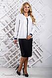 Женская блузка(блуза) свободная, с длинными рукавами, манжетами и воротником. Белая, фото 4