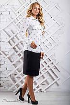 Женская блузка(блуза) с воротником и манжетами, со скрипичным ключом. Белая