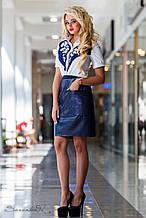 Женская блузка(блуза) с короткими рукавами, с вышивкой, на пуговицах, с воротником. Бело-синяя