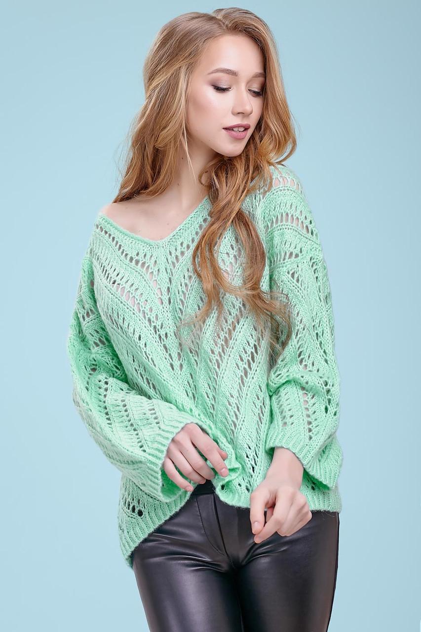 Тонкий свитер-накидка из тонкой вязки с узором, просвечивающийся, оверсайз. Мятный. Светло-зеленый