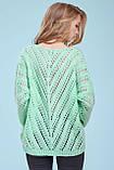 Тонкий свитер-накидка из тонкой вязки с узором, просвечивающийся, оверсайз. Мятный. Светло-зеленый, фото 2