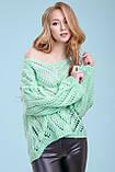 Тонкий свитер-накидка из тонкой вязки с узором, просвечивающийся, оверсайз. Мятный. Светло-зеленый, фото 6
