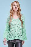 Тонкий свитер-накидка из тонкой вязки с узором, просвечивающийся, оверсайз. Мятный. Светло-зеленый, фото 7