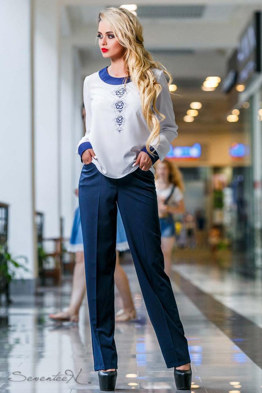 Женские деловые брюки на высокой талии с карманами. Прямые. Синие