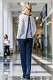 Женские деловые брюки на высокой талии с карманами. Прямые. Синие, фото 2