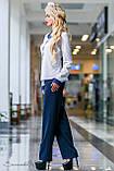 Женские деловые брюки на высокой талии с карманами. Прямые. Синие, фото 3