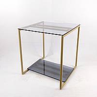 Стол журнальный Куб 450 стекло 8 мм прозрачное/графит - бежевый металл (Cub 450 cg-bg)