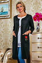 Кардиган из сетки-трикотаж, ниже колена с длинными рукавами и карманами. Прямой. Черный