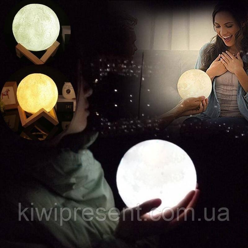 Светильник сенсорный луна 15 см 3D Moon Lamp Настольная лампа  детский ночник луна Moon Light 5 режимов