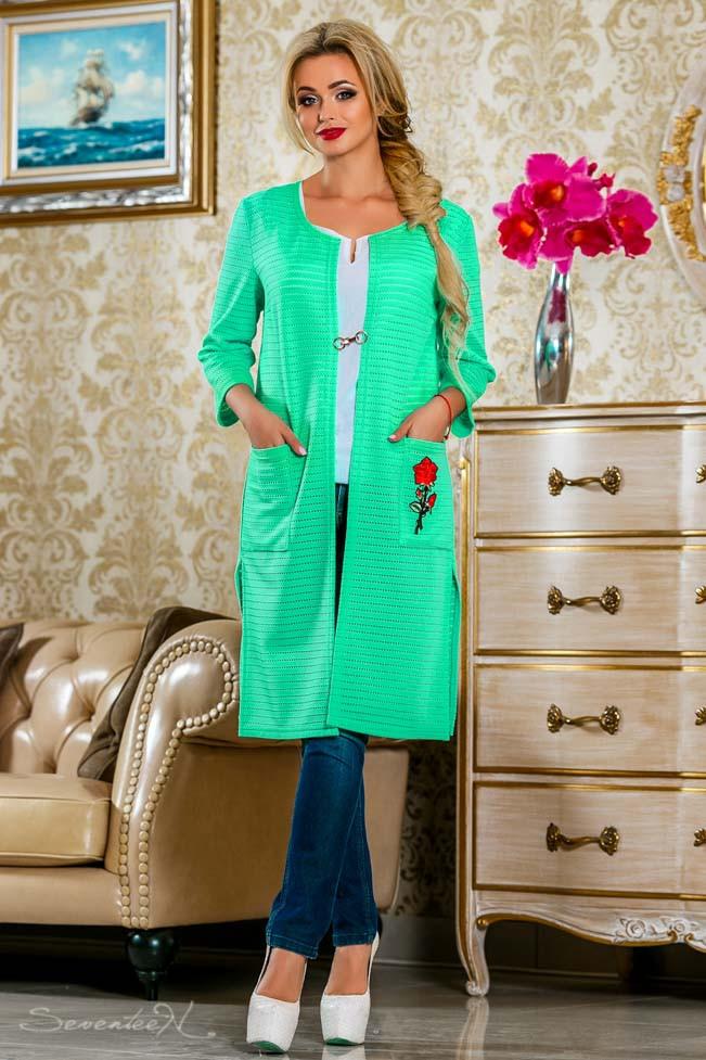 Кардиган из сетки-трикотаж, ниже колена с длинными рукавами и карманами. Прямой. Мятный, зеленый