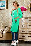 Кардиган из сетки-трикотаж, ниже колена с длинными рукавами и карманами. Прямой. Мятный, зеленый, фото 3