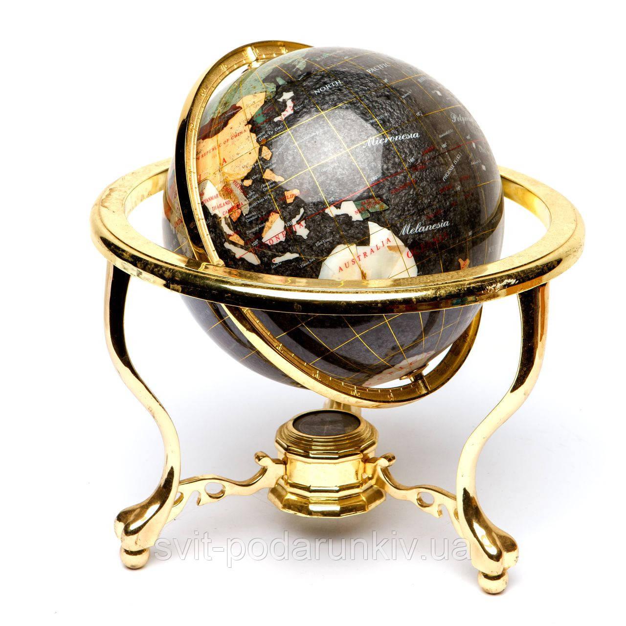 Глобус на підставці золотистої з напівкоштовних каменів CLS220