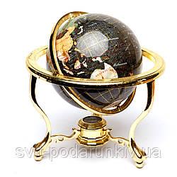 Глобус на подставке золотистой из полудрагоценных камней CLS220