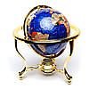 Глобус на подставке золотистой из полудрагоценных камней CLS220, фото 4