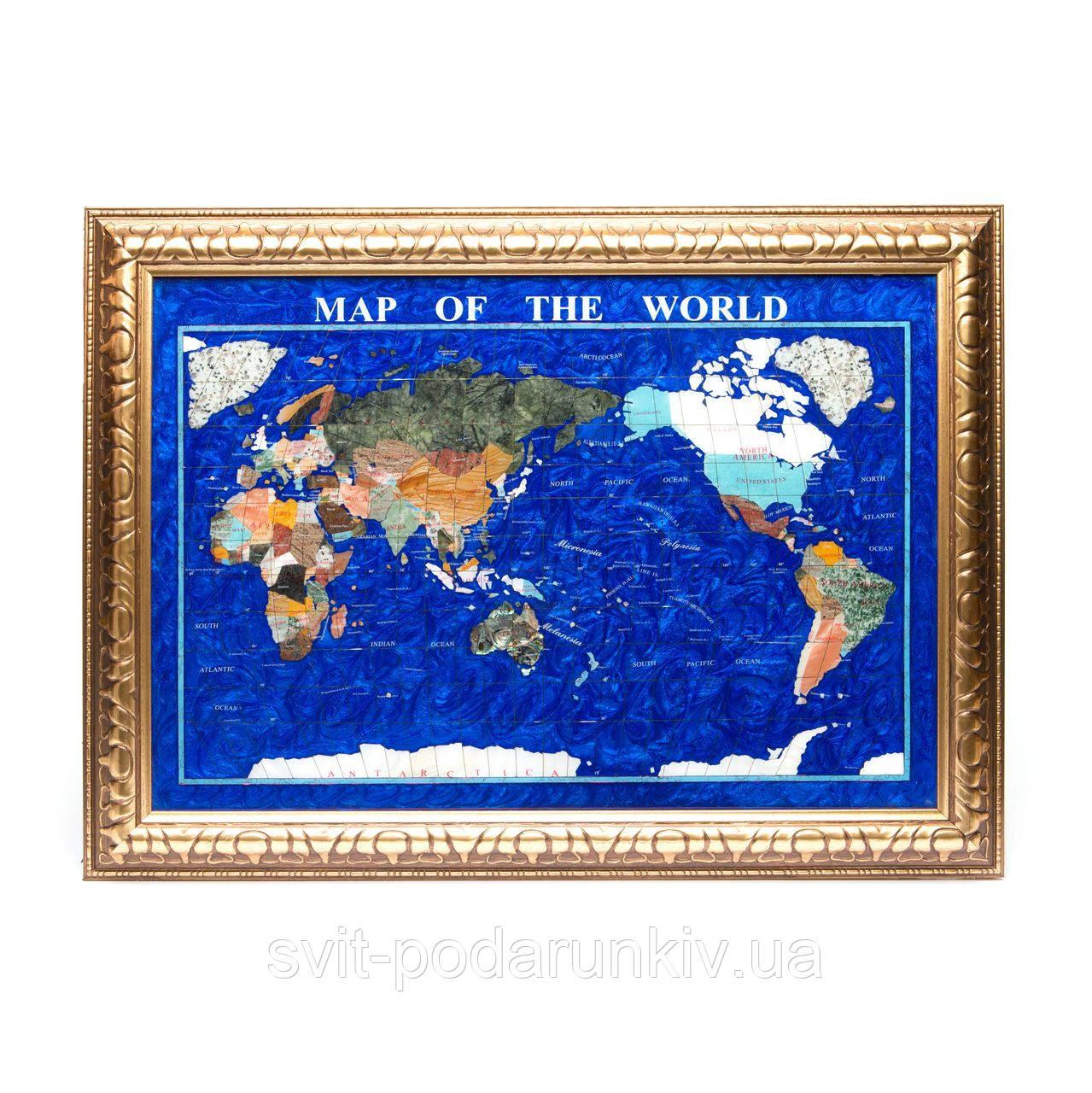 Подарочная карта мира из камня в золотистой оправе 740*540 мм