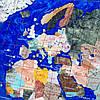 Подарочная карта мира из камня в золотистой оправе 740*540 мм, фото 3