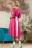 Літнє плаття-вишиванка з асиметричним подолом і рукавами три чверті. Малинове, яскраво-рожеве, фото 2