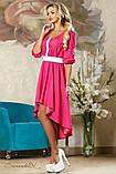 Літнє плаття-вишиванка з асиметричним подолом і рукавами три чверті. Малинове, яскраво-рожеве, фото 3