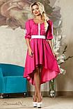 Літнє плаття-вишиванка з асиметричним подолом і рукавами три чверті. Малинове, яскраво-рожеве, фото 5