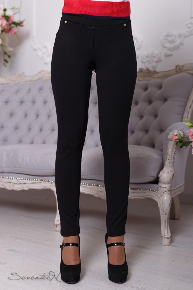 Женские трикотажные штаны, обтягивающие. Черные