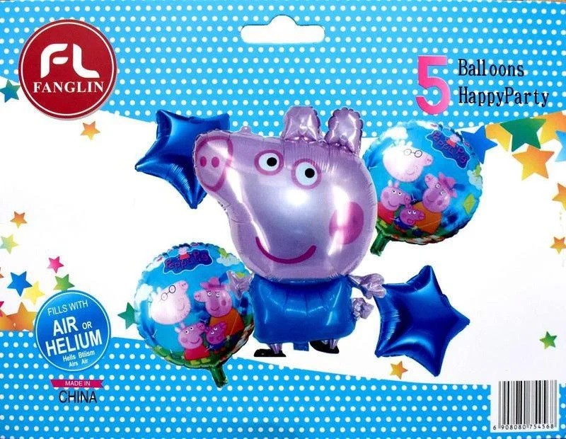 Фольгированные шары Свинка Пеппа 5 штук
