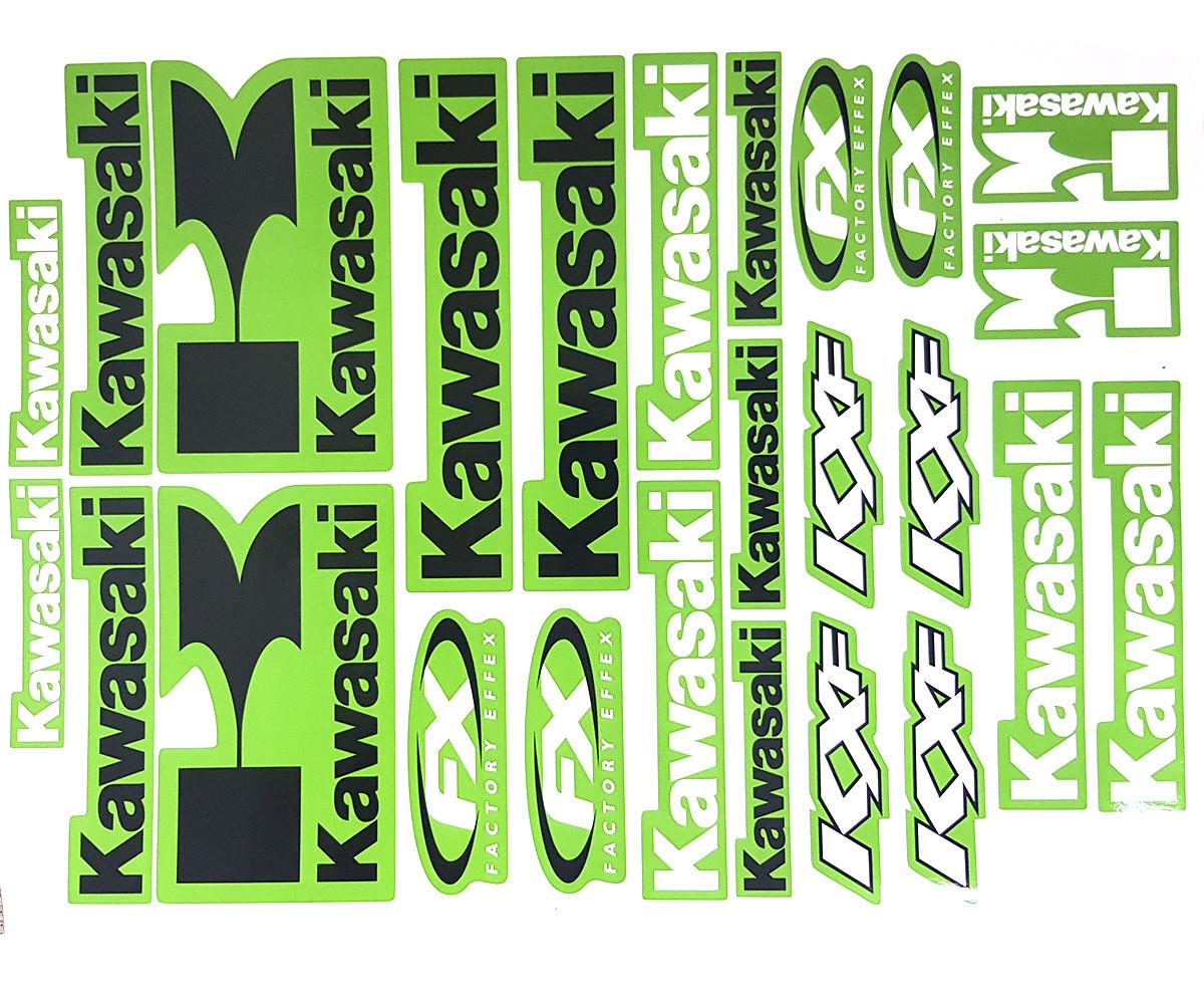Наклейки логотипи аркуш А3 Kawasaki Green
