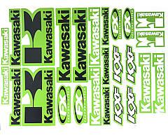 Наклейки логотипы лист А3 Kawasaki Green