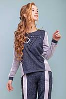 Женский трикотажный спортивный костюм с оригинальным дизайном и молнией на спинке. Синий с серым