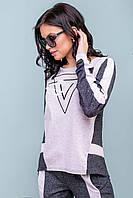 Женский трикотажный спортивный костюм с оригинальным дизайном и молнией на спинке. Серый с синим