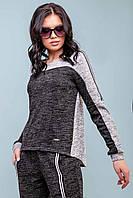 Женский трикотажный спортивный костюм с оригинальным дизайном. Серый