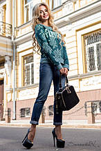 Женский свитшот, трикотажная кофта с рисунком . Реглан. Голубой