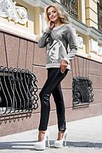 Женские леггинсы из трикотажа со вставками из эко кожи. Черные