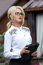 Женская блузка(блуза) с воротником и манжетами, с вышивкой,  длинными рукавами, на пуговицах. Белая
