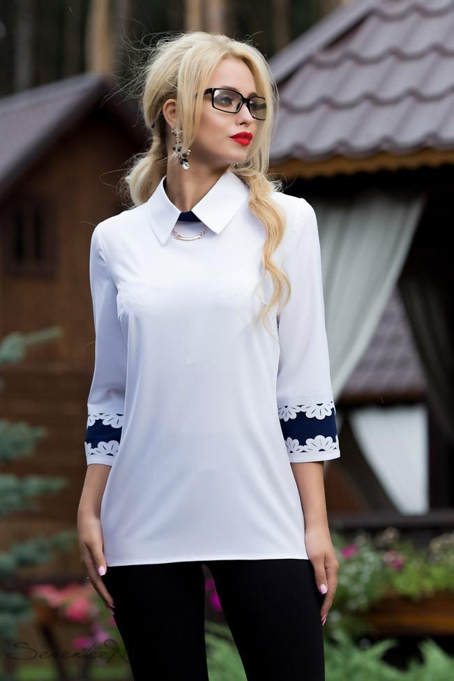 Женская блузка(блуза) прямая, с воротником и рукавами три четверти. Белая