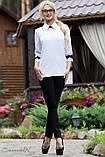 Женская блузка(блуза) прямая, с воротником и рукавами три четверти. Белая, фото 4