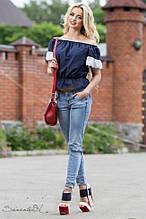 Женская блуза-кофточка с короткими рукавами, с кружевами и с открытыми плечами.Свободная.Темно-синяя