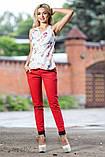 Женские брюки из летнего стрейч-катона, с подвернутым низом и карманами. Рисунок шахматка. Красные, фото 2